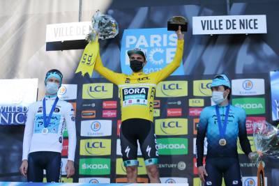 14/03/2021 - Paris Nice 2021 - Etape 8 - Le Plan-du-Var / Levens (92,7 km) - Aleksandr VLASOV (ASTANA - PREMIER TECH) 3e, Maximilan SCHACHMANN (BORA - HANSGROHE) 1er et Ion IZAGUIRRE INSAUTI (ASTANA - PREMIER TECH) 2e