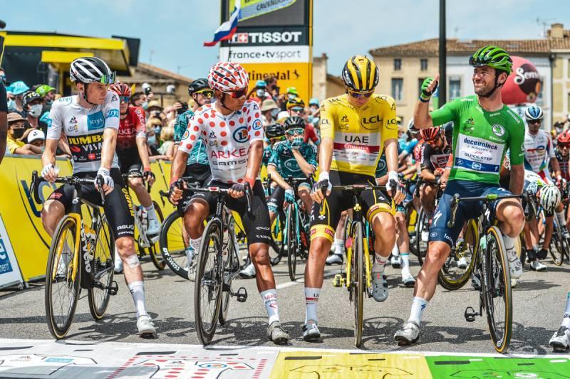 10/07/2021 – Tour de France 2021 – Etape 14 – Carcassonne / Quillan (183,7 km) - J.Vingegaard (TJV), N.Quintana (ARK), T.Pogacar (UAE) et M.Cavendish (DQT)