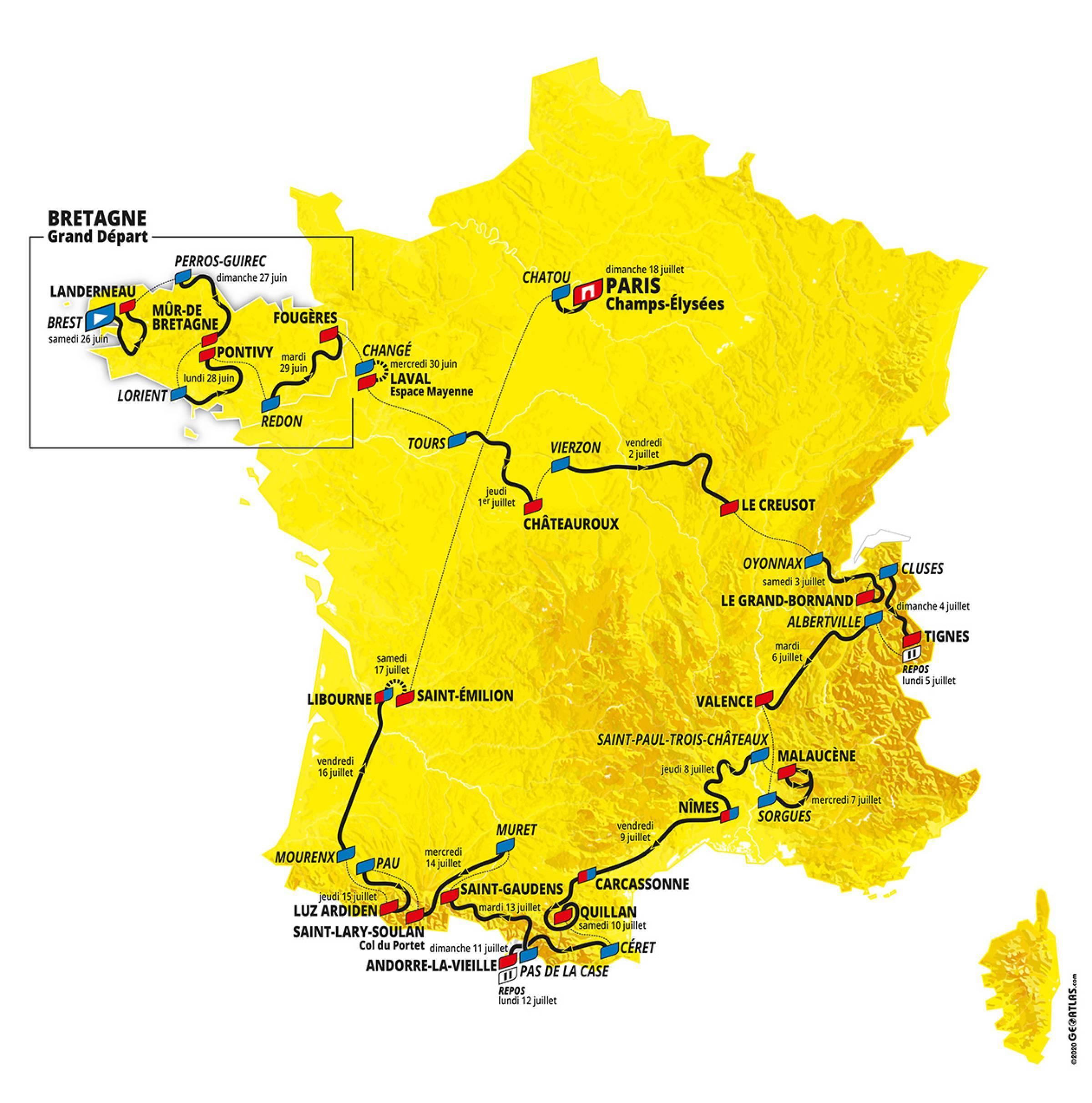 Route overzicht Le Tour 2021