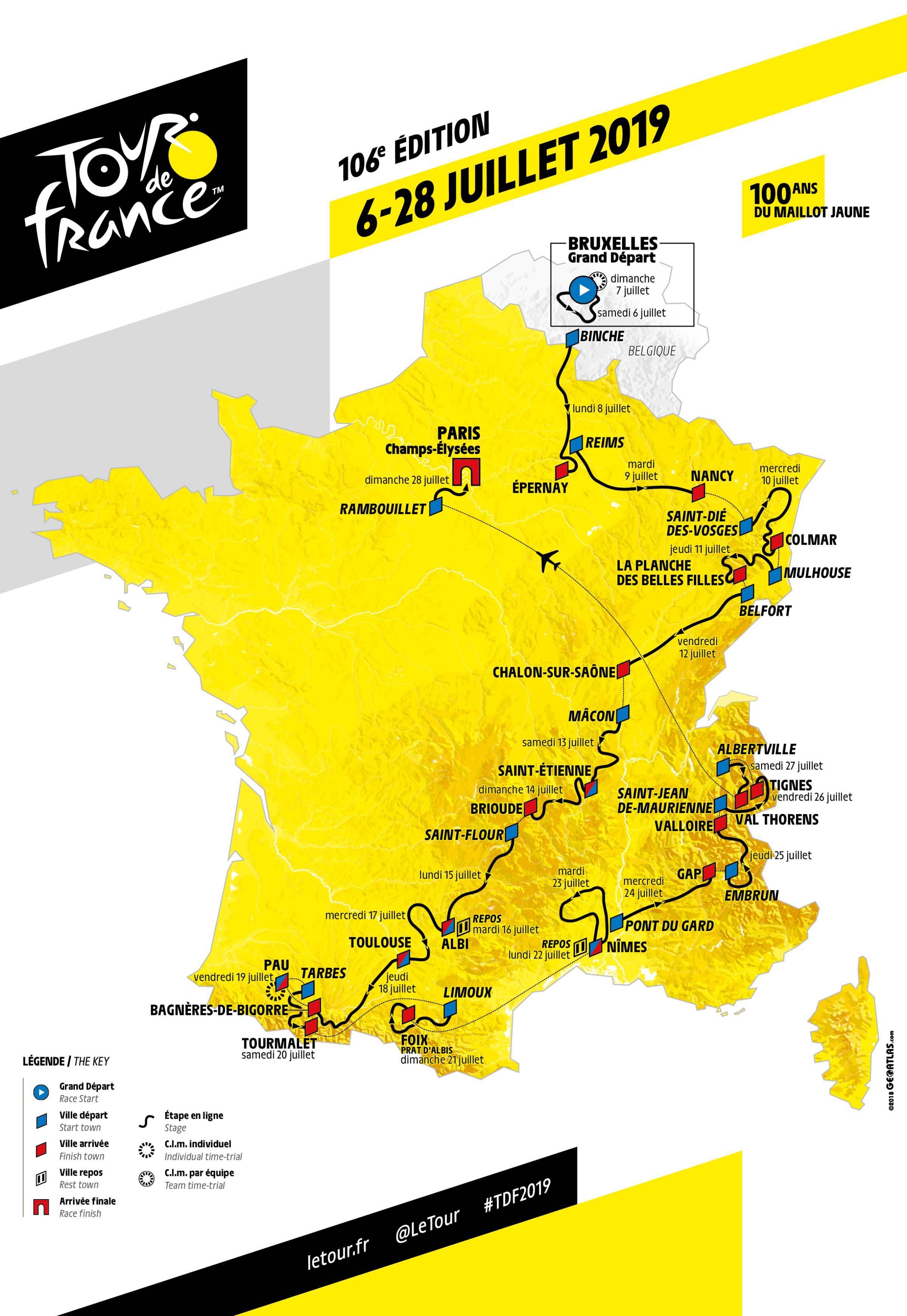 official route of tour de france 2019