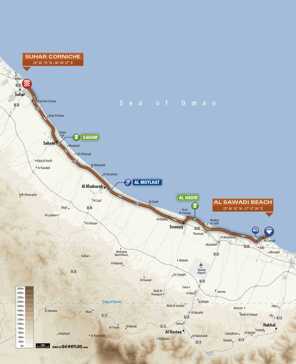 Day 1 Tour of Oman Map