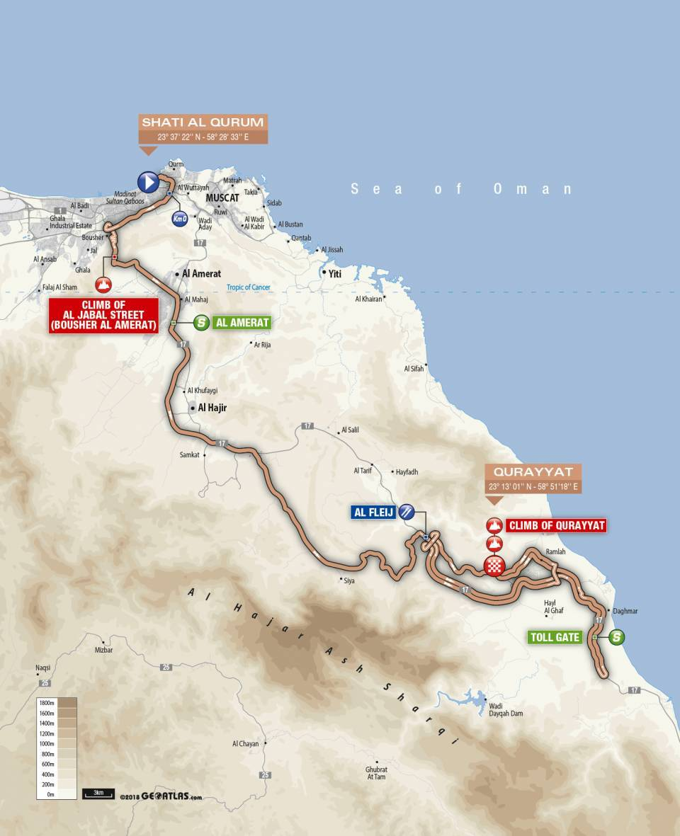 Day 3 Tour of Oman Map