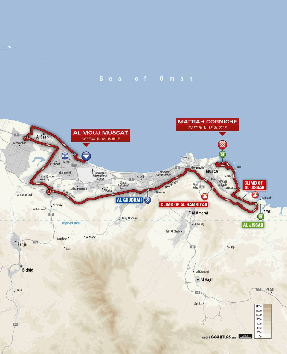 Day 6 Tour of Oman Map