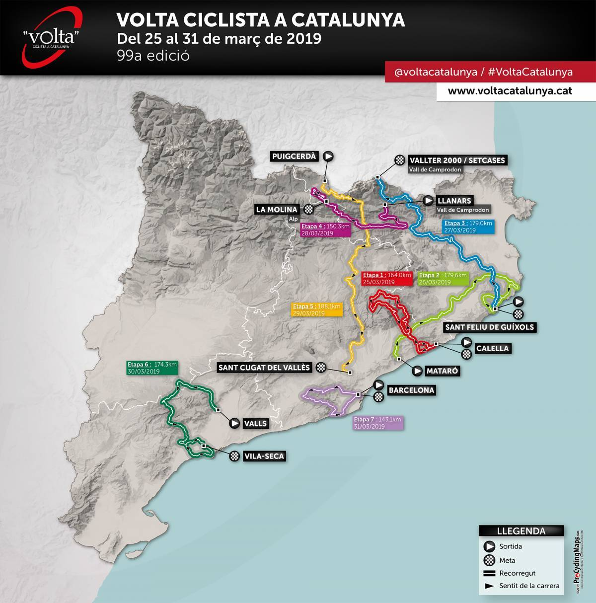 tour de catalogne 2019 - la carte