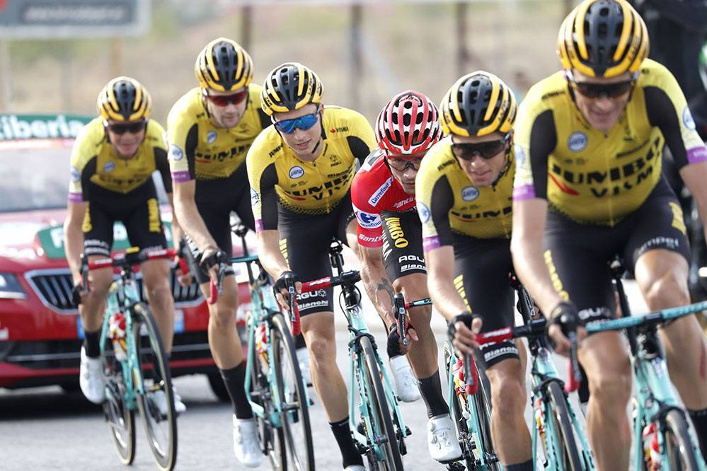 Cycling: Vuelta España 2019 / Tour of Spain 2019/ La Vuelta/ Etapa 21/ Stage 21/  TEAM JUMBO - VISMA (TJV) (NED)/ ROGLIC Primoz (SLO)/ BENNETT George (NZL)/ GESINK Robert (NED)/ HOFSTEDE Lennard (NED)/  KUSS Sepp (USA)POWLESS Neilson (USA) Fuenlabrada